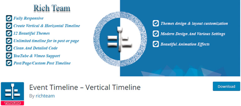 event timeline wordpress timeline plugins