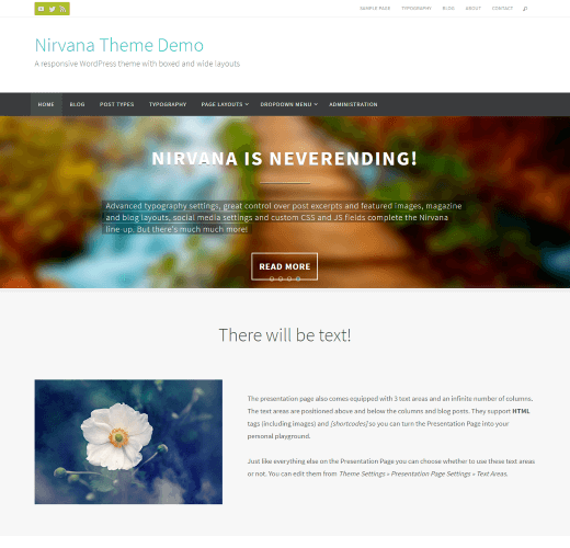 Nirvana free wordpress landing page themes