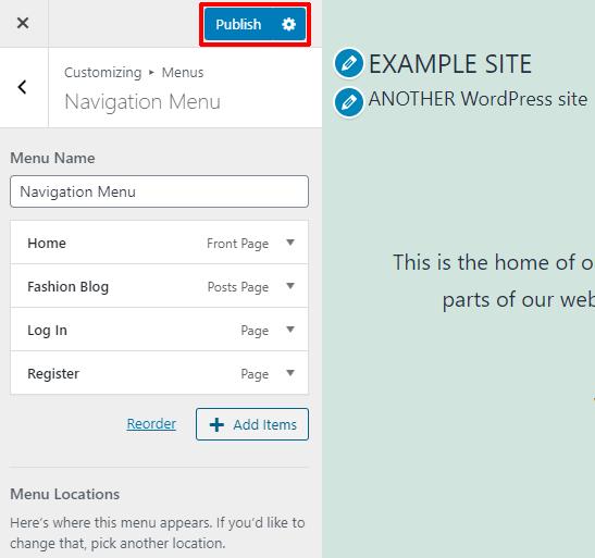 Publish Menu on Customizer