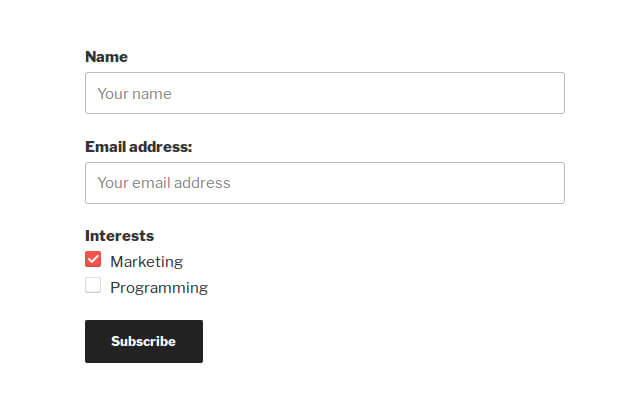 Email Subscription Form Example