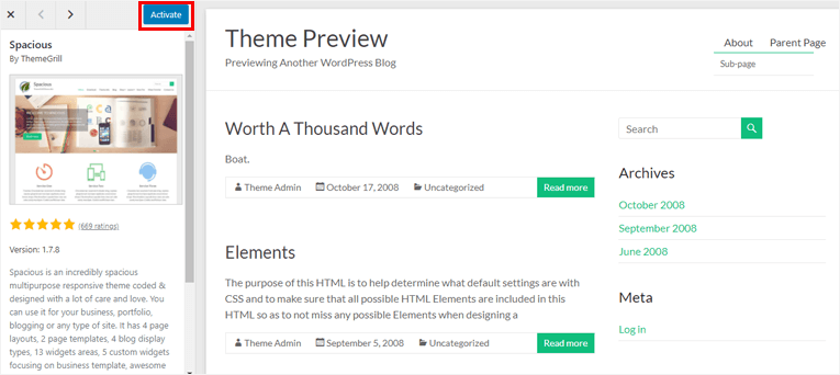 Activate Theme from Preview  how to add a theme in wordpress