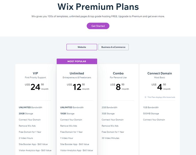 Wix Paid Plan
