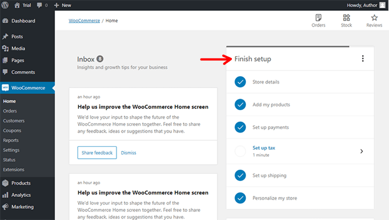 WooCommerce Finish Setup Page