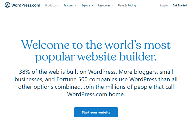 WordPress.com page How to create a WordPress website