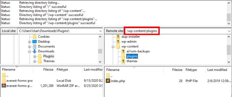 plugins folder FTP