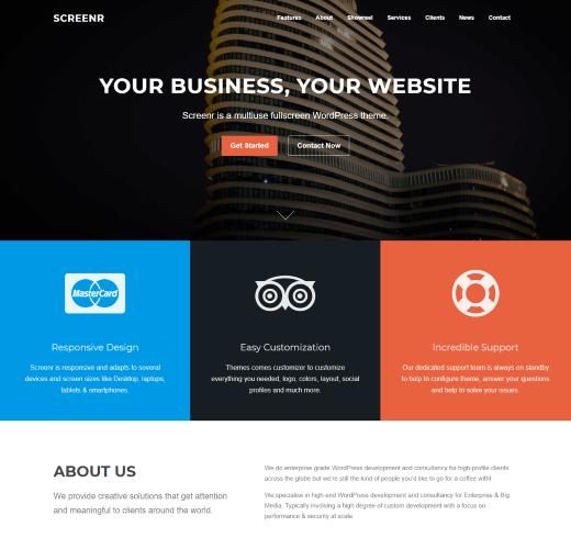 Screenr free wordpress landing page themes