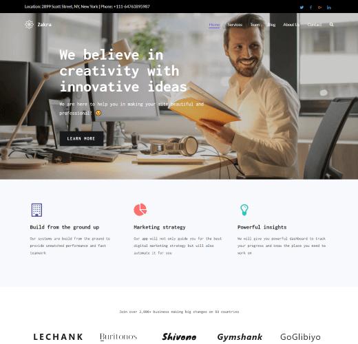 Zakra Free WordPress Landing Page Theme