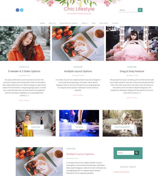 Chic-Lifestyle Blog and Magazine WordPress Theme