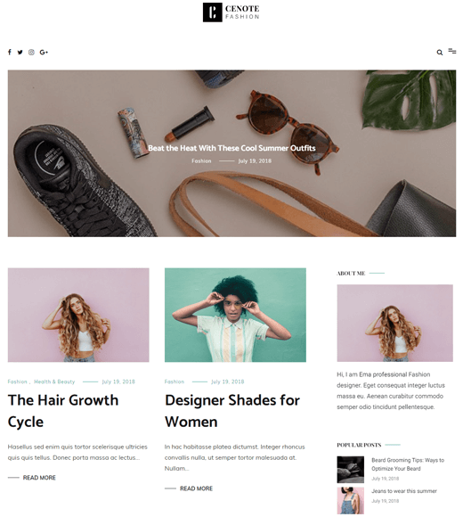 Cenote Theme for Lifestyle Blogs
