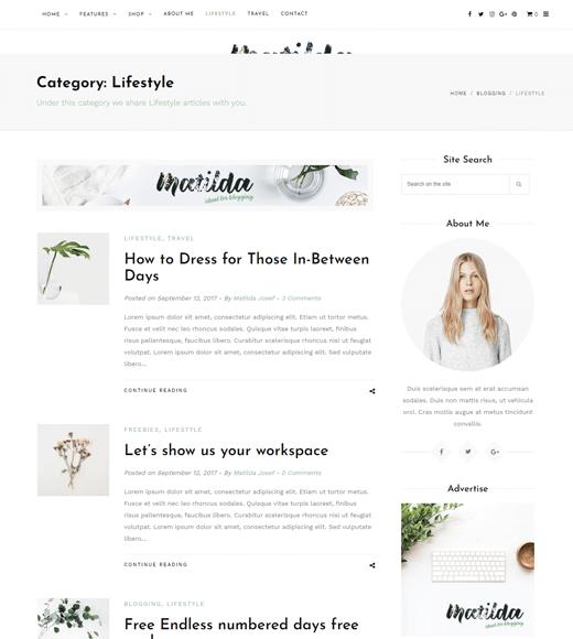 Matilda Theme for Amazing Lifestyle Blogs