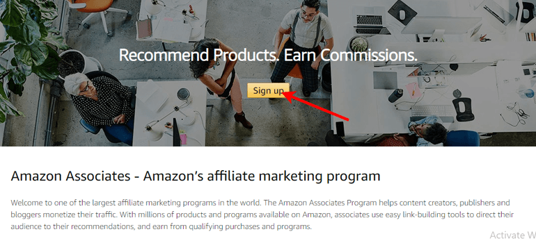 Amazon Sign Up Page
