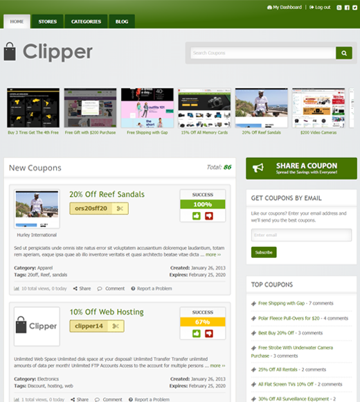 Clipper Coupon-thema