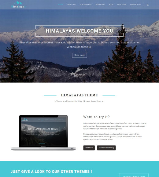 Himalayas best free responsive themes with slider