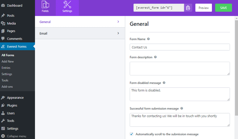 Change General Contact Form Settings