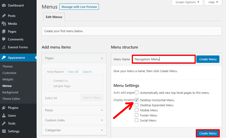 Create a New Menu in WordPress