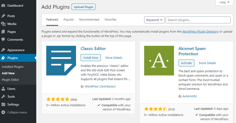 Venster WordPress-plug-ins