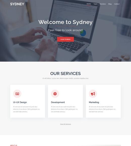 sydney free wordpress themes slider header