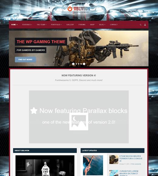 Oblivion WordPress Gaming Theme