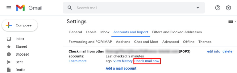 accounts and import check mail now