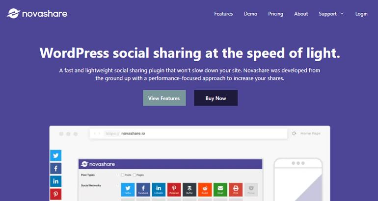 Complementos de redes sociales de Novashare para WordPress