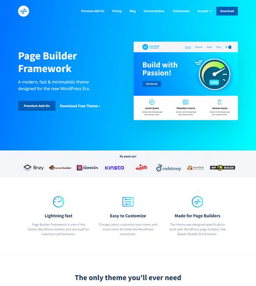 Page Builder Framework Brizy Demo
