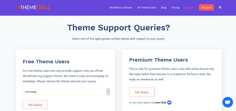 themegrill support page How to create a WordPress website