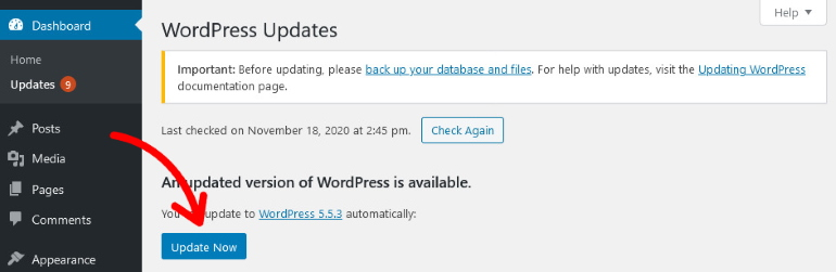 button to wordpress latest version