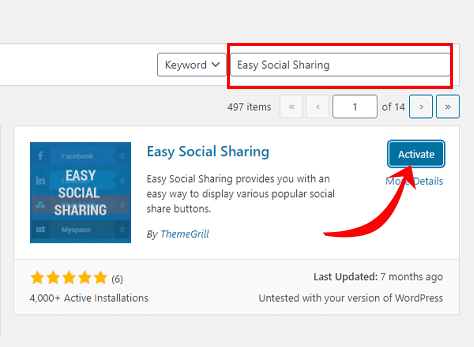 Activate Easy Social Sharing
