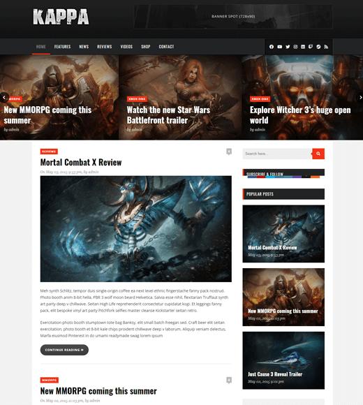 Kappa WordPress Theme for Gaming Website