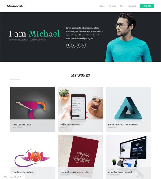 Zakra Minimal Portfolio Free WordPress Template