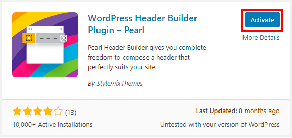 Activate Pearl Header Builder