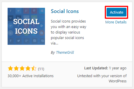 Activate Social Icons