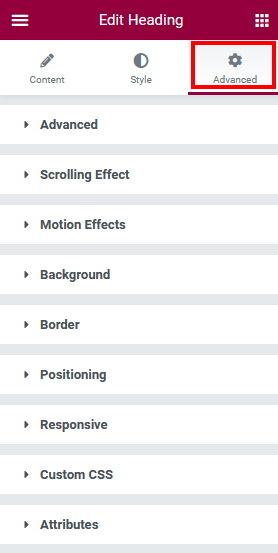 Advanced Options Elementor elementor vs divi builder
