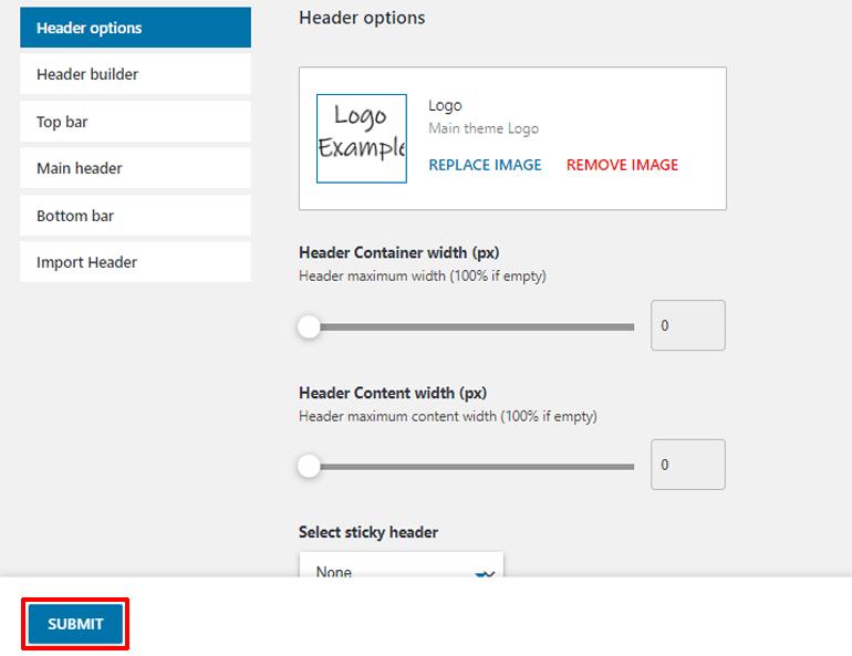 Header Builder Submit Button