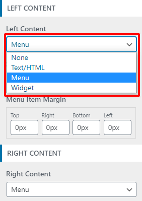 Left and Right Content Buttons