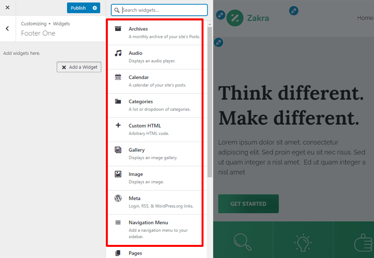 List of Widgets on Customizer