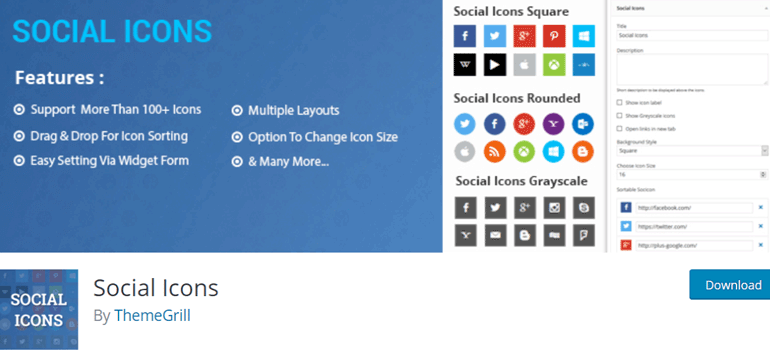 Social Icons Plugin by ThemeGrill