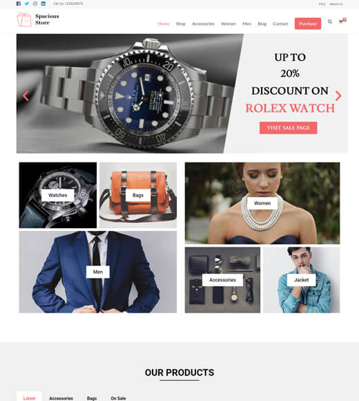 spacious best theme for woocommerce and elementor