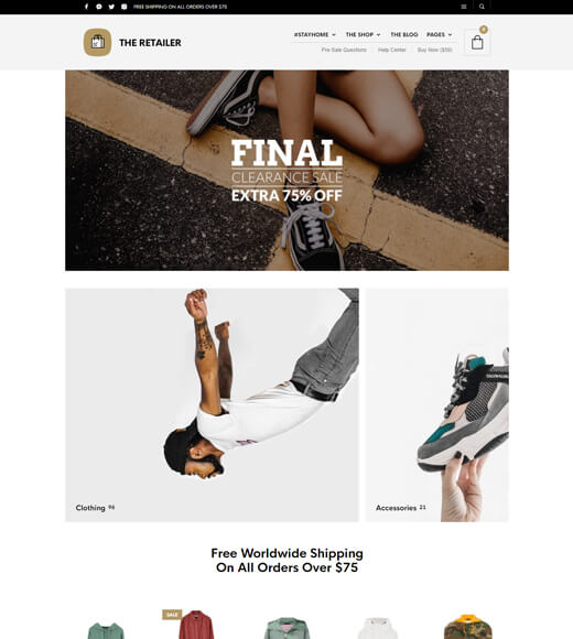 the retailer best theme for woocommerce and elementor