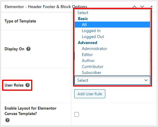 User Roles Option