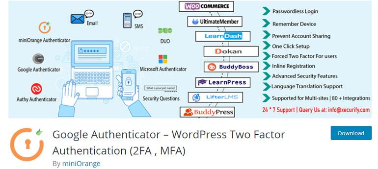 google authenticator wordpress security plugins