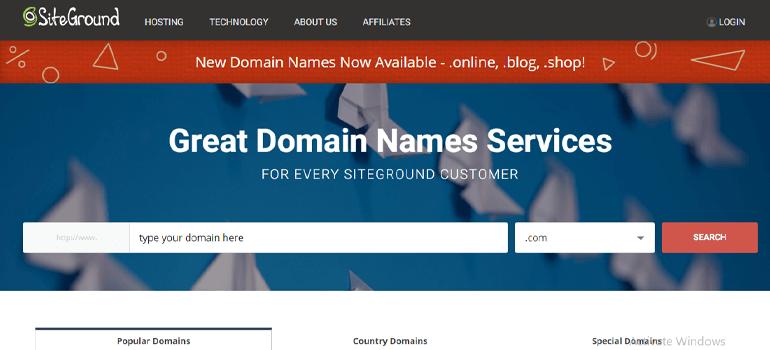SiteGround Domain Registration Site