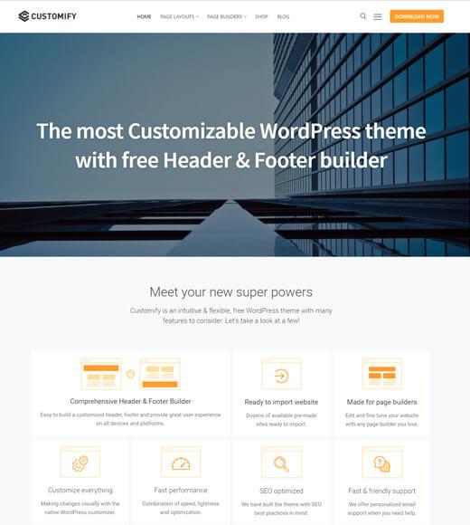 customify best multipurpose wordpress themes