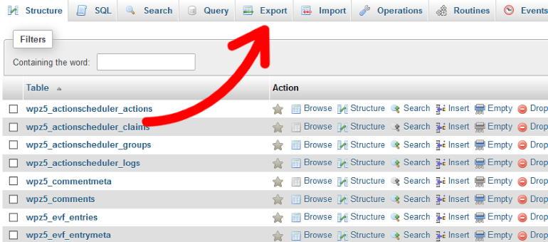 export tab phpmyadmind