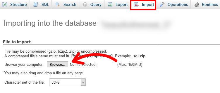 import database wordpress backup