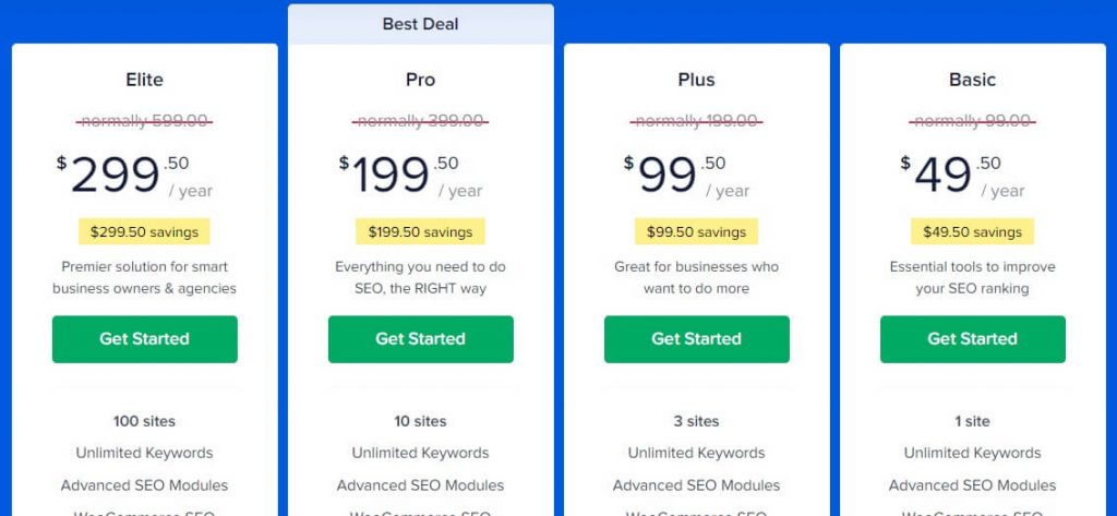 pricing all in one seo