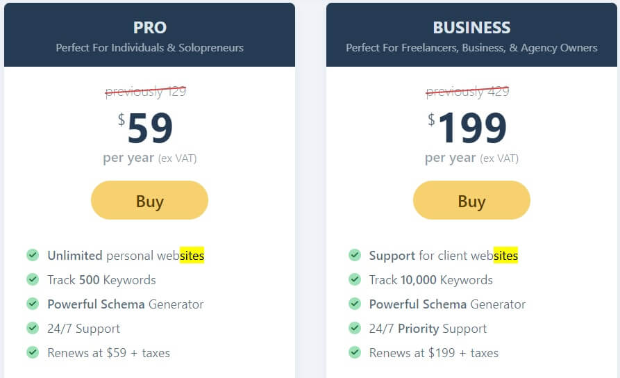 pricing rankmath vs all in one seo