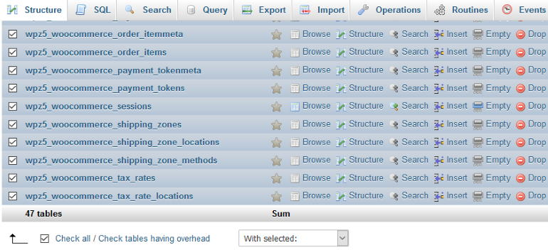select all tables restore database backup wordpress
