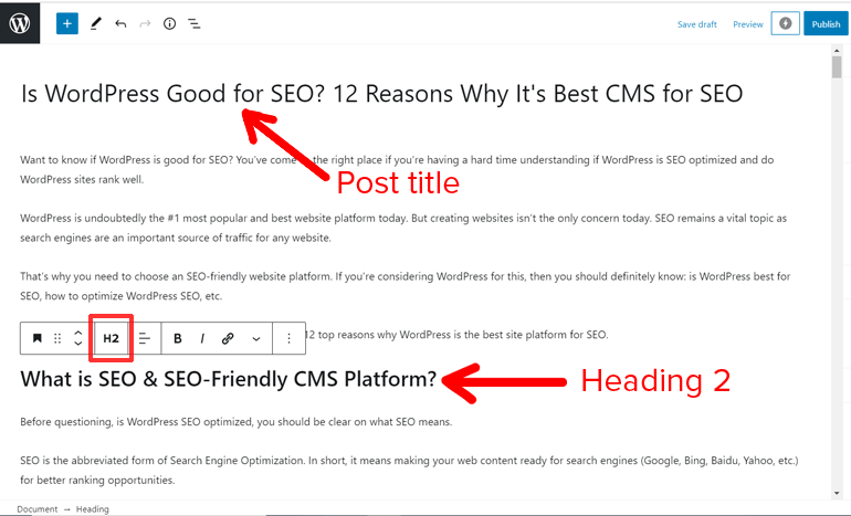Title and Headings for SEO in WordPress