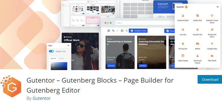 Gutentor wordpress gutenberg blocks plugins